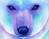Bear art print , Watercolor, Polar Bear, Constellation Ursa major, Cosmic art, Animal wall decor