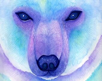 Polar bear print, nursery bear decor, nursery Constellation, Cosmic nursery, animal art print, watercolor print