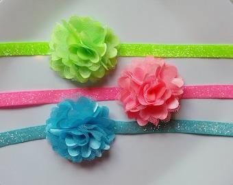 Set of 3 Mini Satin Glitter Headbands- newborns, babies, toddlers, girls, photo prop