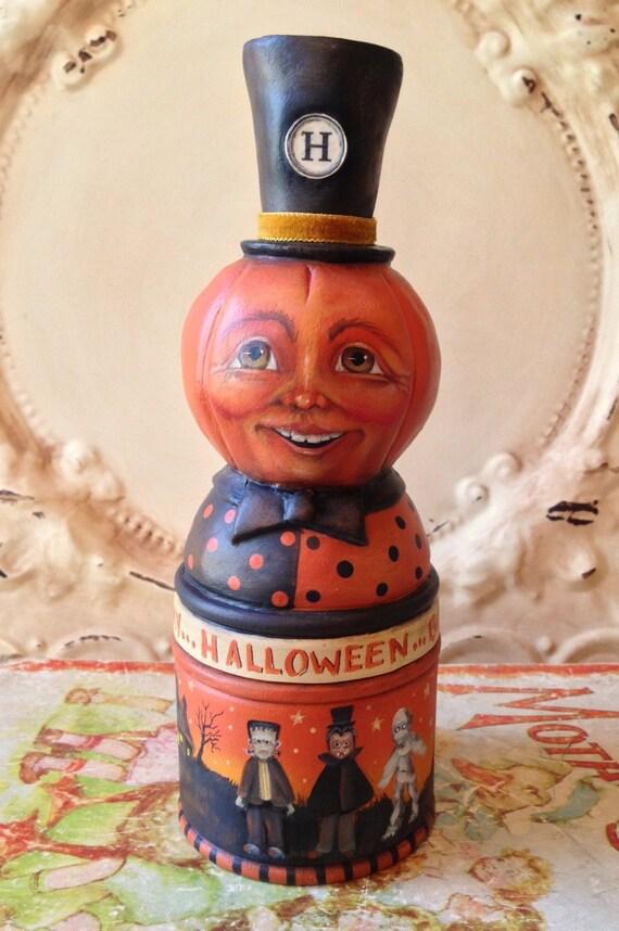 Vintage Style Folk Art one of a kind  Pumpkin Halloween container  Primitive Jack o lantern HAFAIR
