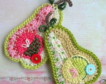 Crochet pattern - patchwork pear applique by VendulkaM, digital pattern, DIY, pdf