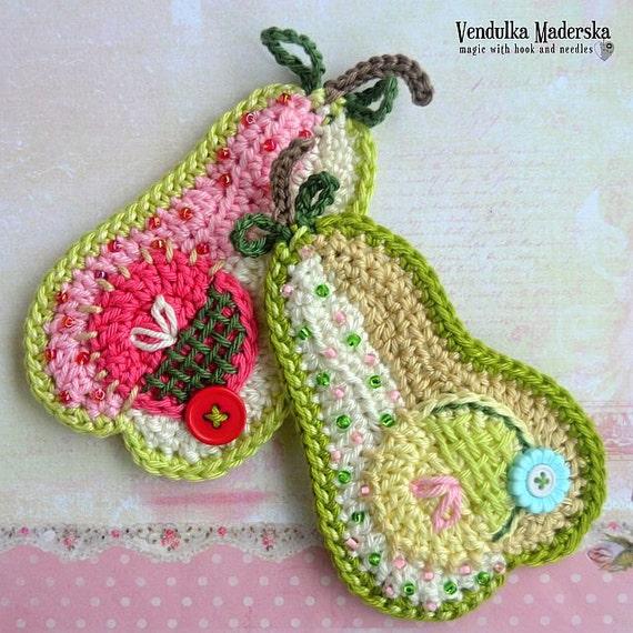 Crochet pattern - patchwork pear applique by VendulkaM, digital pattern, DIY, pdf