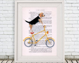 Beagle Print, Beagle Poster, Beagle Illustration Acrylic Painting Animal Portrait  Decor Wall Hanging Wall Art Drawing, Beagle on Bicycle