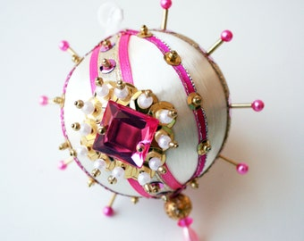 Sparkling Pink, Ivory and Gold Sequin Ornament by Distinguished Flamingo