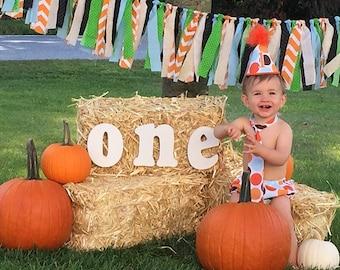 Baby Boy / Toddler Party Hat,  Necktie & Diaper Cover Set (Orange Brown Polka Dot)