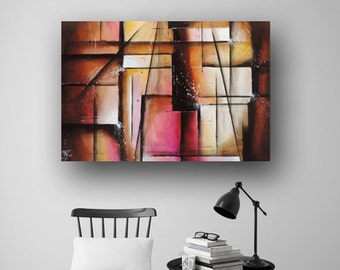 Pink & Brown Painting Painting on Canvas Abstract Painting Original Painting Geometic Painting Contemporary Art 36x24 Heather Day Paintings