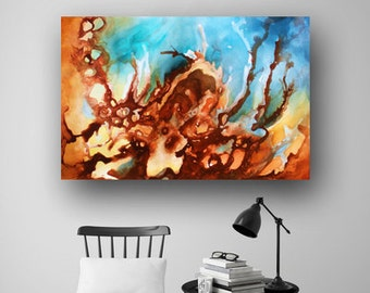 Contemporary Art, Large Abstract Painting, Original Painting on Canvas, Blue Painting, Fluid Painting, Modern Art 36x24 by Heather Day