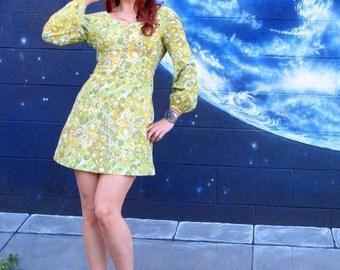 1960s 1970s groovy Dress green op art gogo talon zipper vintage // xs / xxs