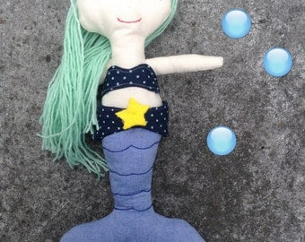 Doll, Mermaid doll, Rag doll, Handmade Doll