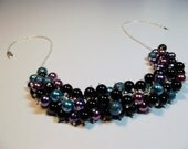 Black Teal Purple Pearl Cluster Necklace, Valentines Mothers Day Christmas Gift, Bridesmaid Mom Sister Grandmother Wedding Jewelry, Cocktail