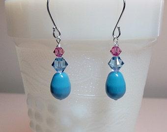 Swarovski Turquoise Blue Rose Pearl Crystal Drop Earrings, Christmas Mother Wedding Bridesmaid Mom Birthday Sister Girlfriend Jewelry Gift