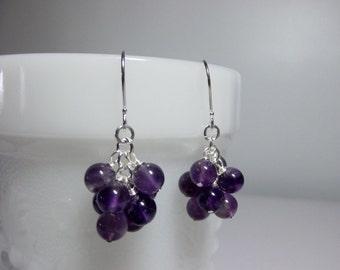 Purple Amethyst Gemstone Cluster Drop Earrings, Mothers Day Christmas Mom Sister Bridesmaid Girlfriend Birthday Wife Jewelry Gift