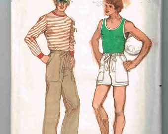 Uncut, Vintage  Men's Size 40, Butterick #5906  Pattern, Athletic Wear, Fitted Tank Top, T-shirt, Drawstring Pants, Shorts,  Mens' Casual