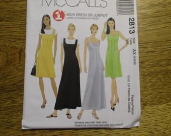 BOHO Basic Fit and Flare A-Line Dress / Sleeveless 1 Hour Summer Jumper / Gown - Choose Your Size - UNCUT Sewing Pattern McCalls 2813