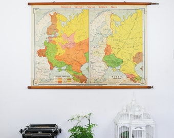 Vintage Pull Down Map, Webster Knowlton European History Map Russia