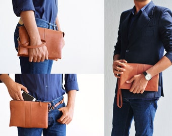 Mens leather bag brown, leather clutch, waist bag leather, document bag, car bag leather, office handbag men, brown bag men, hand wallet men