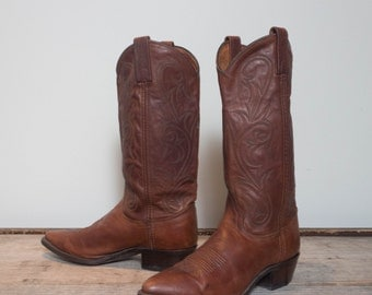 7 M | Women's Dan Post Western Cowboy Boots in Brown Leather