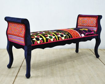 Marquis patchwork bench - blue