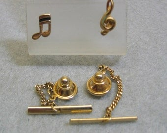 Vintage 1960s  Duo of Musical Notes Tie Tac set