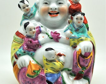 Vintage Laughing Buddha Chinese Porcelain Gold Accents 5 Children Good Fortune Joyful Monk Prosperity Fine Quality