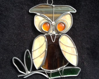 Vintage Owl Leaded Glass Window Sill Sun Catcher.  Vintage 1970's.  Kitsch. Mod, pop, Mid century, Eames Panton era.