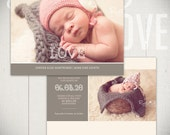 Birth Announcement Template: Little Heart Card B - 5x7 Card Template for Baby Girl