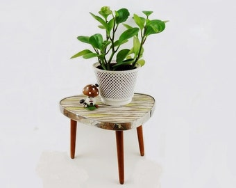 Mid Century German Small Coffee Tripod Table Plant Stand