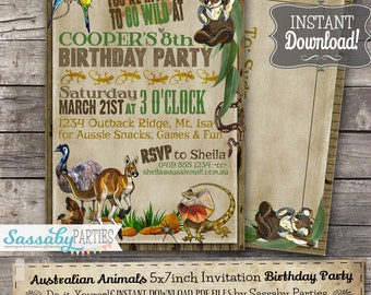 Australian Animals Birthday Invitation - INSTANT DOWNLOAD -  Partially Editable & Printable Kangaroo, Koala, Party Invite by Sassaby Parties