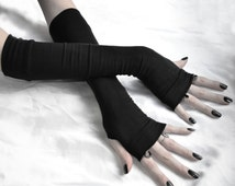 Black Arm Warmers Gothic Fingerless Gloves - Saints & Sinners cotton jersey knit sleeves glove cozies handwarmers arm warmer goth halloween
