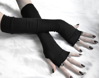Black Arm Warmers Gothic Fingerless Gloves - Saints & Sinners cotton jersey knit sleeves glove cozies handwarmers arm warmer goth halloween