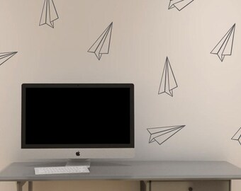 Paper Airplane vinyl decals | Set of 12 | paper plane wall stickers | Trendy Home Decor | FREE SHIPPING