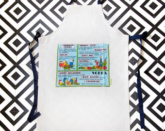 Bartender apron/ Cocktail Recipes/ Vodka/ Manhattan/ Champagne Cocktail/ Alcohol/ Mixology gift for booze lover/ ECO/ Made In UK/ Gift Box