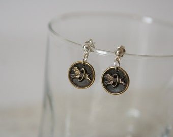 Picture Button Dangles Vintage Lion earrings - made with vintage picture buttons