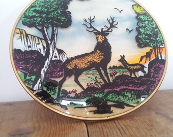 Round Stag Picture Glass Domed Vintage 1970s Very Rare