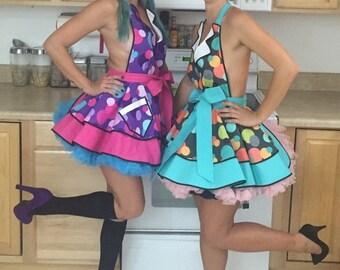 Betty the Car Hop Pin Up Apron, Sexy Costume Apron , Polka Dot Raspberry Sherbet or Aqua Ice, Retro