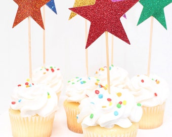 Rainbow Cupcake Toppers, Star Cake Topper, birthday cake topper