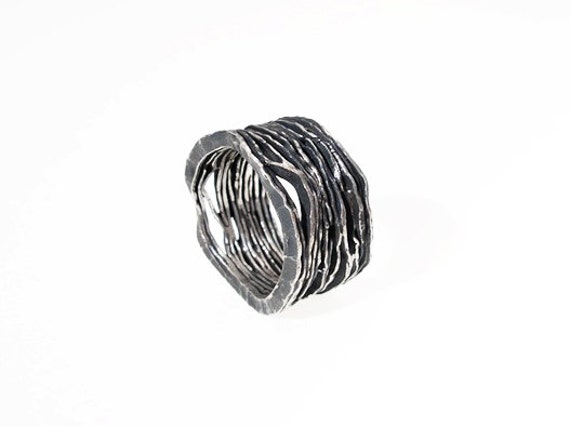 Ring in Fairmined silver,Original Hammered,Oxidized Silver Ring,Fair trade jewellery,Eco jewellery,Sustainable,Ring Designed in Barcelona