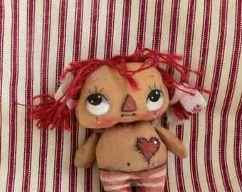 Primitive Valentine  Raggedy  Anne , hand painted cloth Raggedy Anne , Gift for Raggedy Anne Collector , OOAK Raggedy , Tiny Raggedy doll.