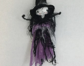 Halloween witch doll , OOAK witch doll , Hand painted witch doll , Halloween decor , Collector witch , Halloween gift , Witch  ornament .