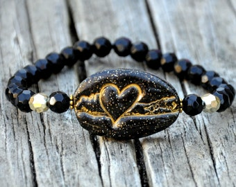 Black & Gold Sparkle Long Island Love Beaded Bracelet