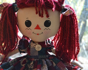 Raggedy Ann with pretty pony tails, including two-piece outfit and coordinating hair ties, handmade, USA