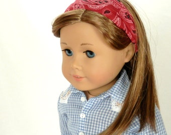 Red Bandana Headband for 18 Inch Dolls  Handmade by Thimbledoodle Country Western Doll Accessory