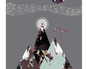 Abstract mountain print, Geometric art, moon art, grey illustration