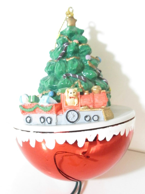 Vintage Chirstmas Tree Ornament with moving Toy Train
