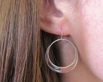 Silver Large Circular Earrings - Silver Earrings, Hoop Earrings