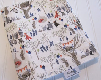 Baby Blanket/Foxtail Forest/Treetop Party in Multi/Organic Cotton Fleece Backing
