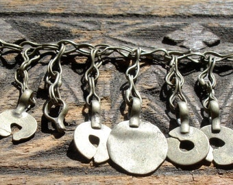 """Indian Kuchi  tarnished  hand made chain  with discs 17"""" or 43 cm"""