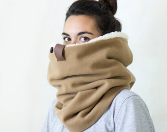 Chunky scarf, scarf, chunky cowl scarf, winter scarf, Snock®, in high quality camel wool with soft faux lamb lining