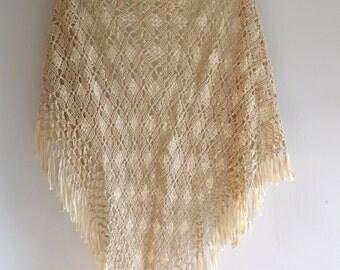Vintage Macrame Crochet Fringe Shawl Poncho