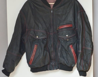 Mens Real Leather  Bomber Jacket Vintage 80's mens jacket
